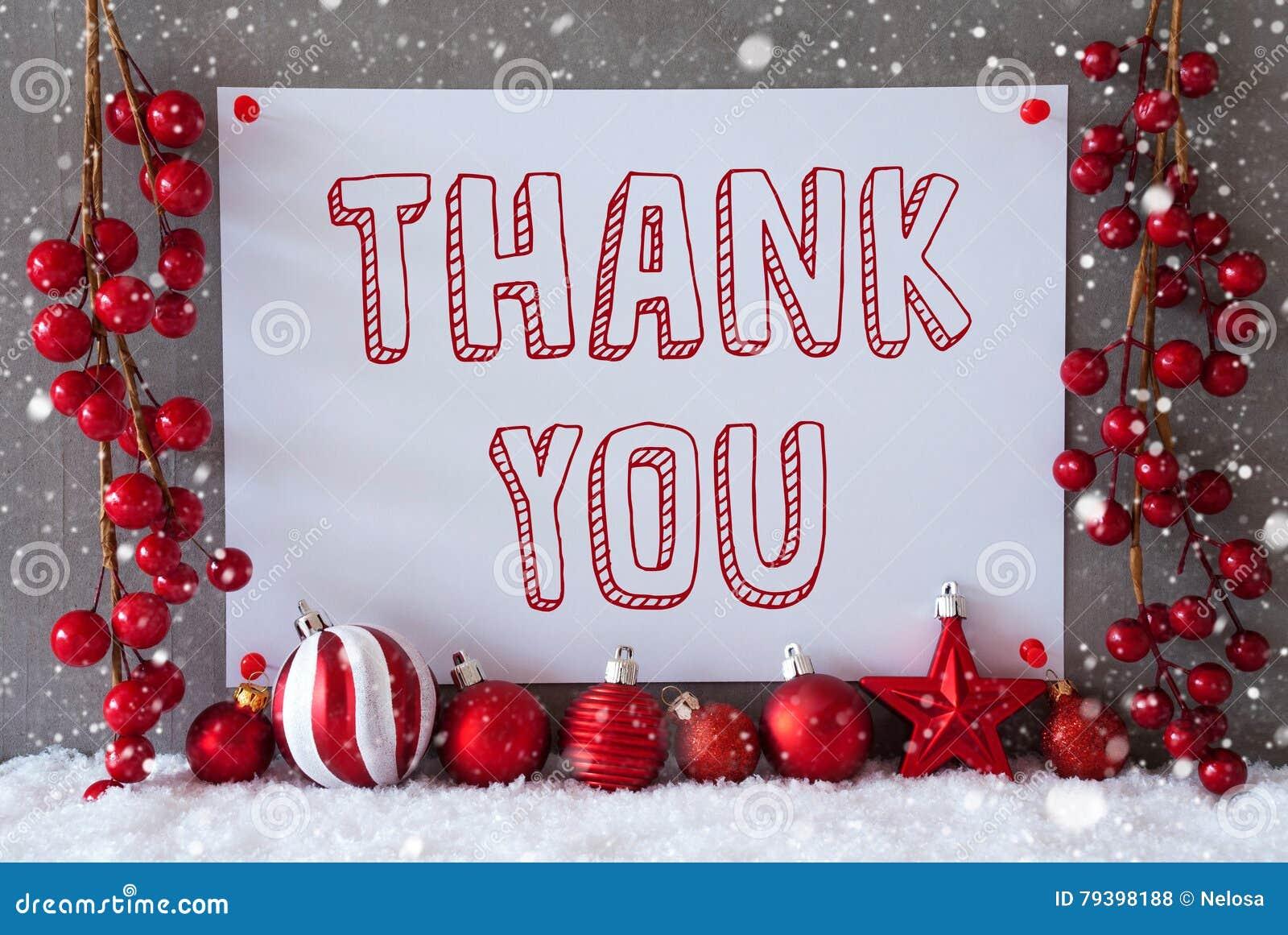 Label, Snowflakes, Christmas Balls, Text Thank You