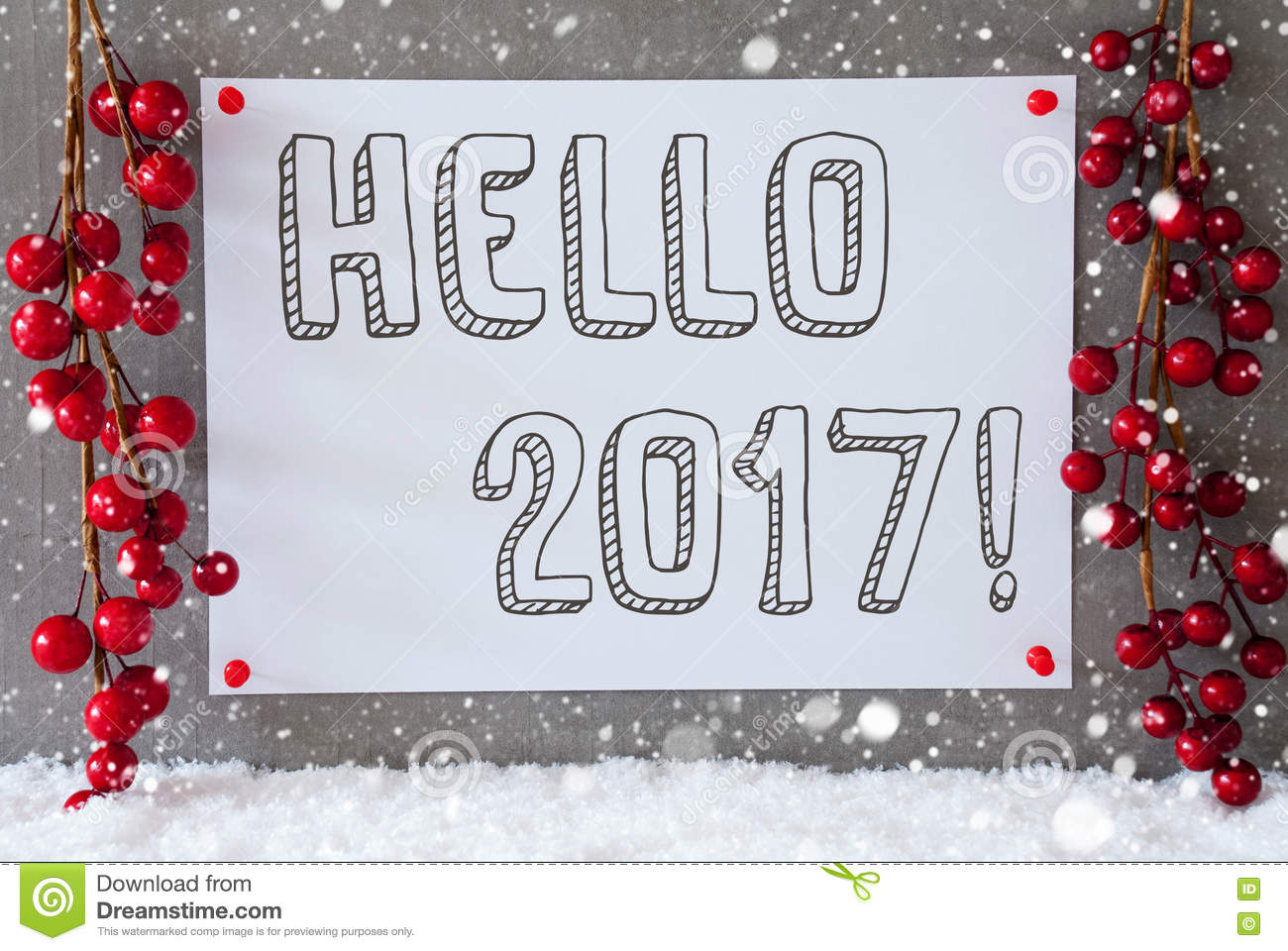 Good Background Snow Hello Winter Message 2017. At January , 2018. Label,  Snowflakes, Christmas Decoration, Text Hello 2017 Stock Photo   Image:. Photo