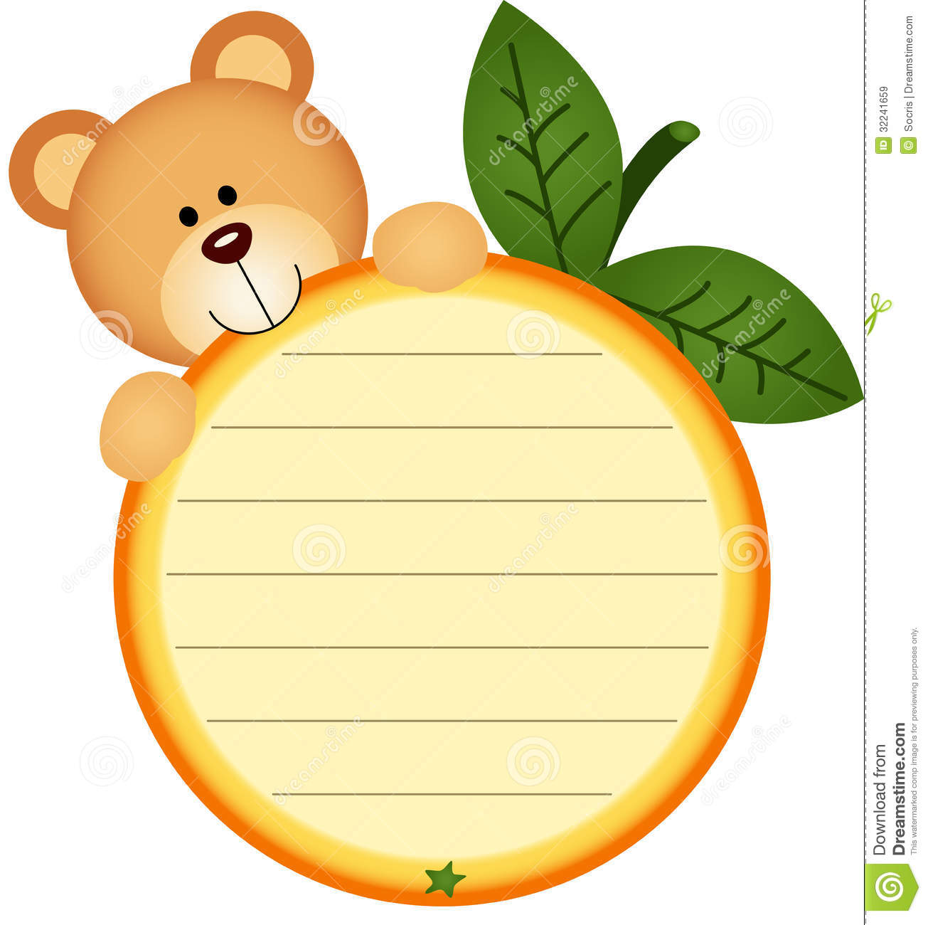 Label with teddy bear eating orange royalty free stock for Name the bear template