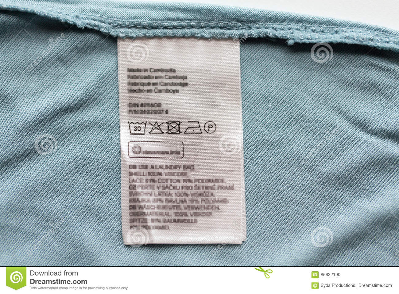 label with users manual of clothing item stock photo image of