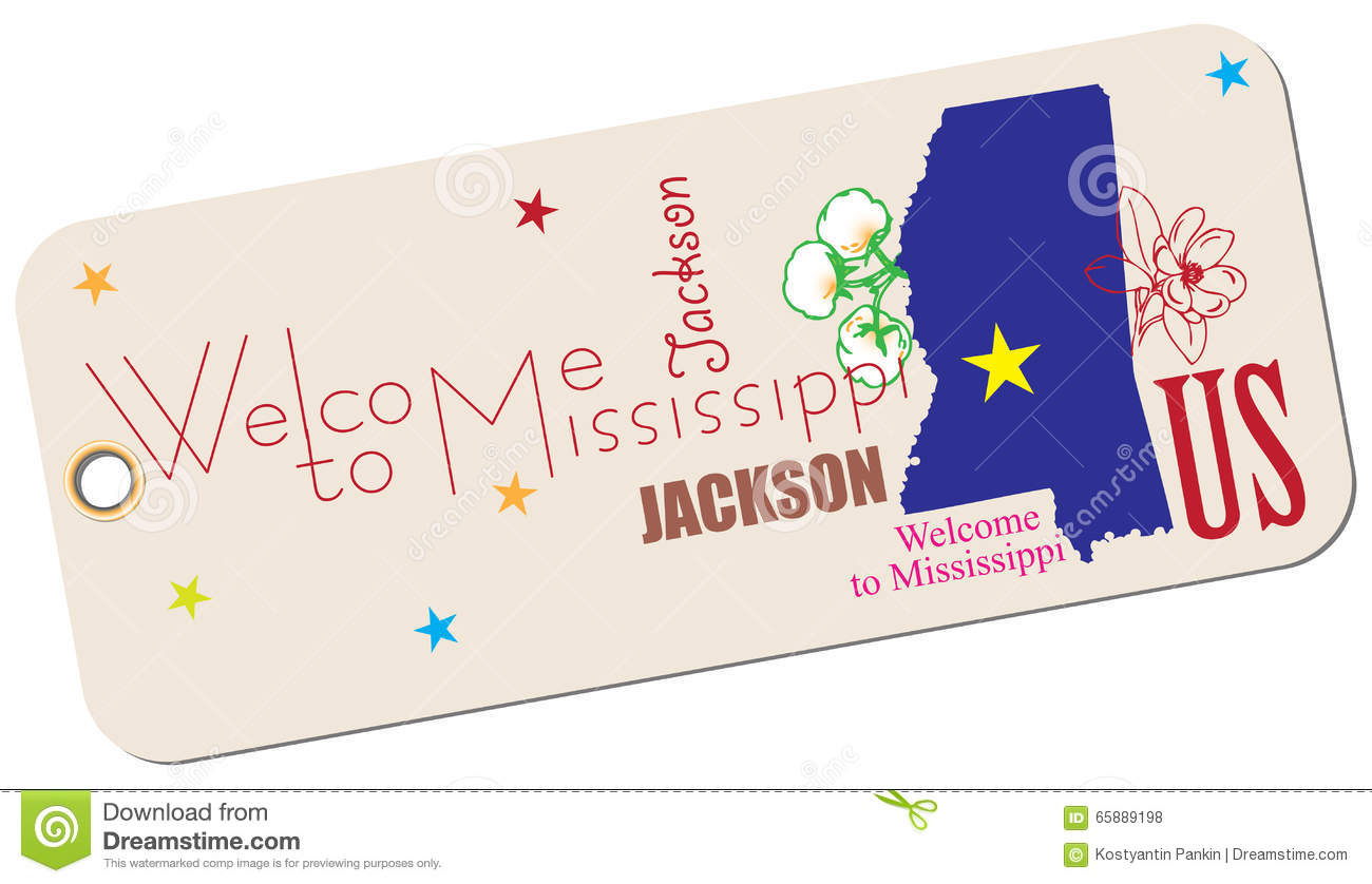 Label Wel e To Mississippi Stock Vector Image