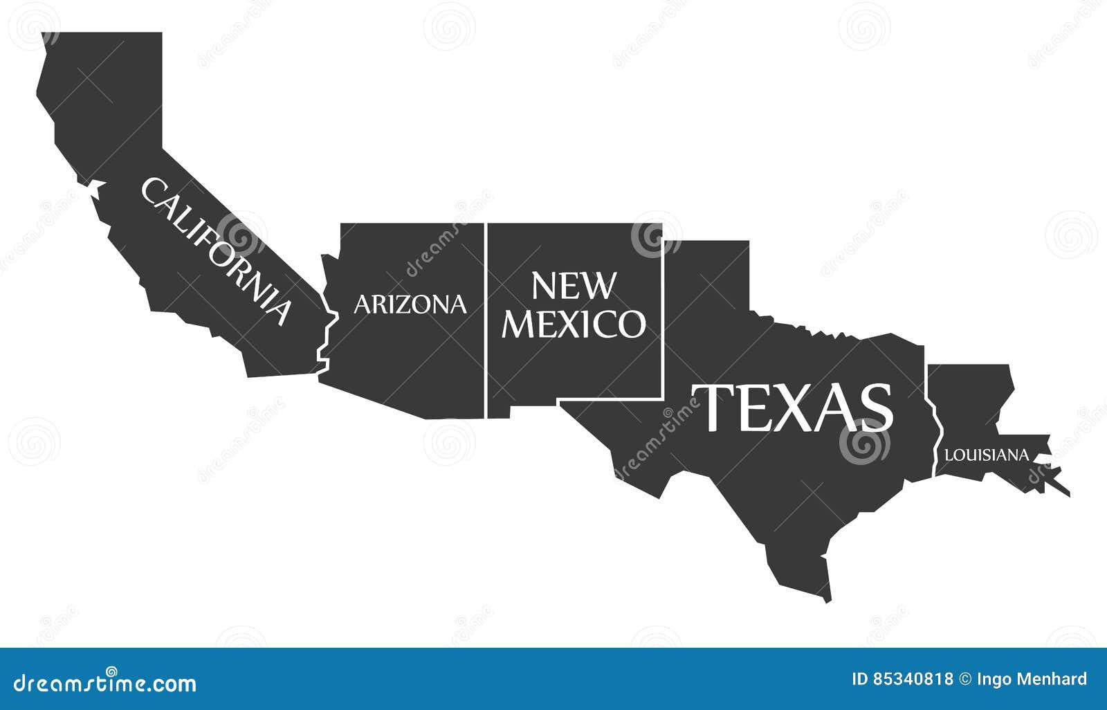 Labell de carte de la Californie - de l Arizona - du Nouveau Mexique - du Texas - de la Louisiane
