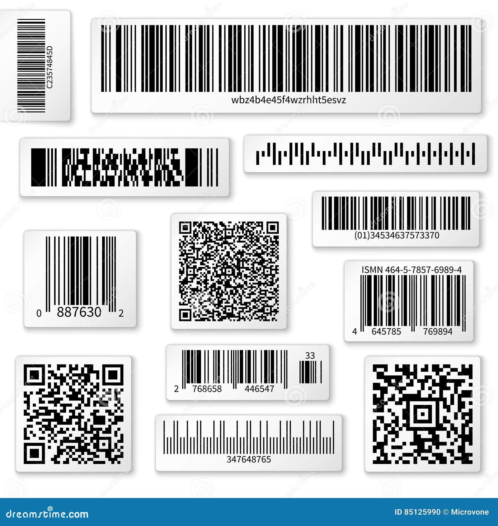 Labels, barre et codes de empaquetage de QR sur les autocollants blancs de vecteur