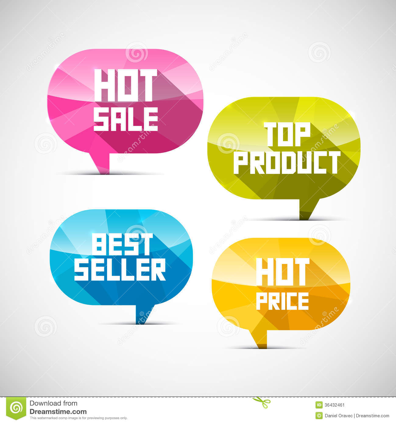 Labels Best Seller, Top Product, Hot Sale, Price