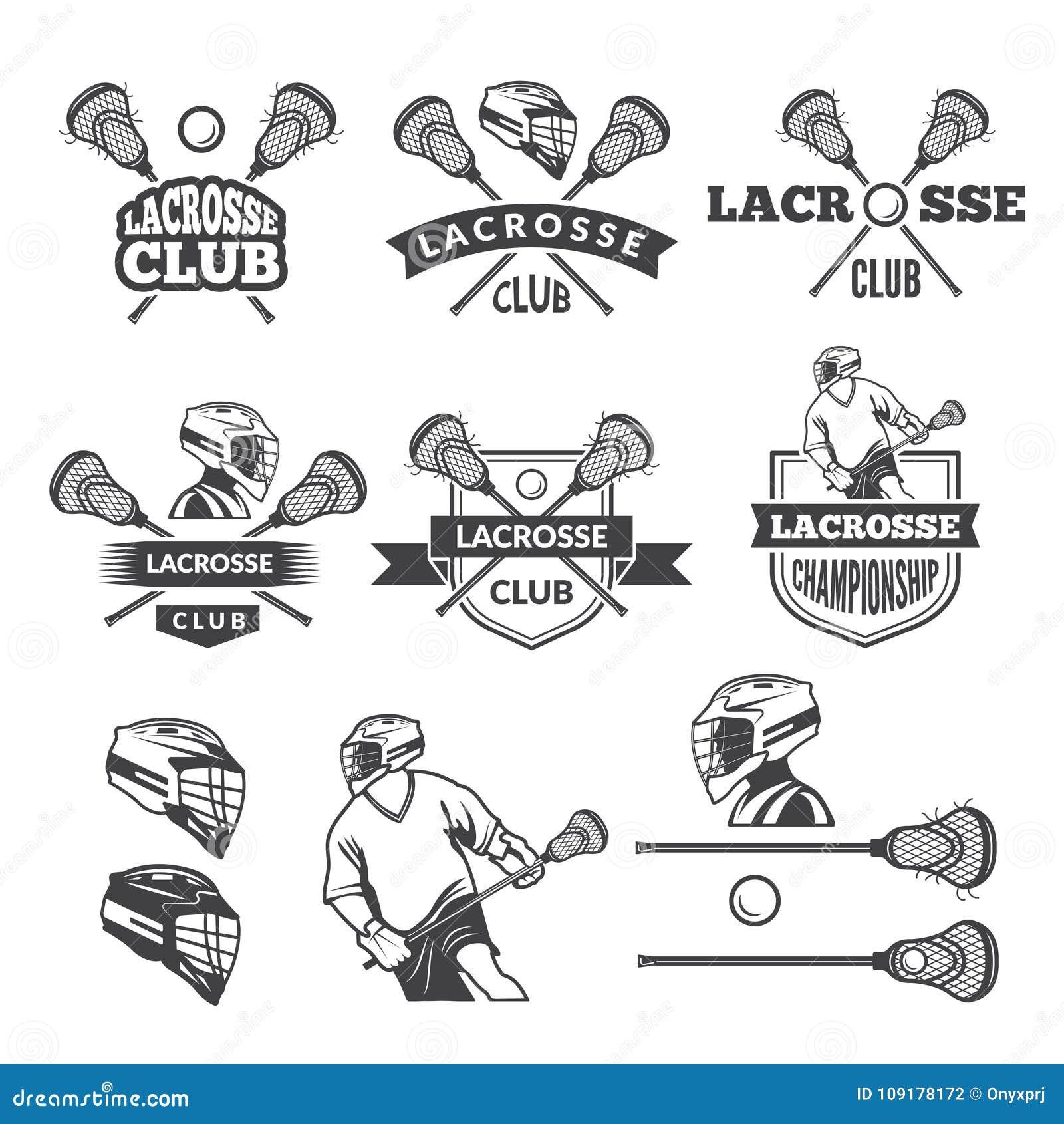 Labels de club de lacrosse Photos monochromes de vecteur réglées