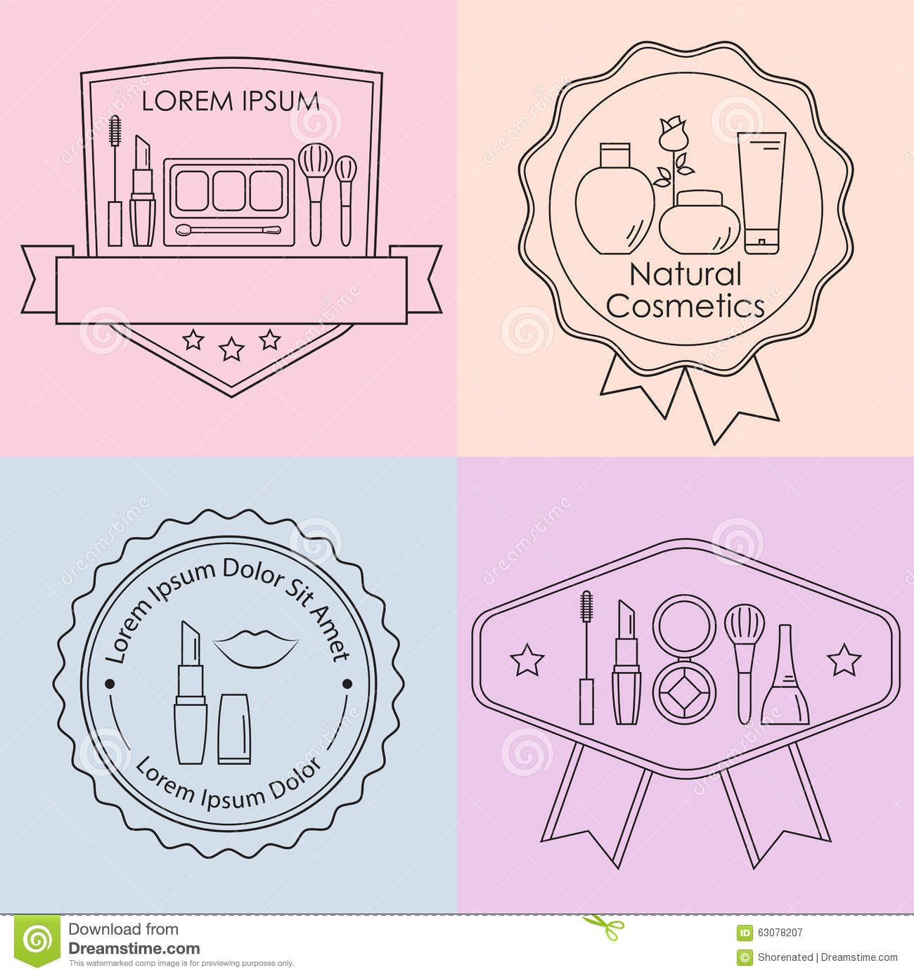 Download Labels De Cosmétique Et De Maquillage Illustration de Vecteur - Illustration du fond, soin: 63078207
