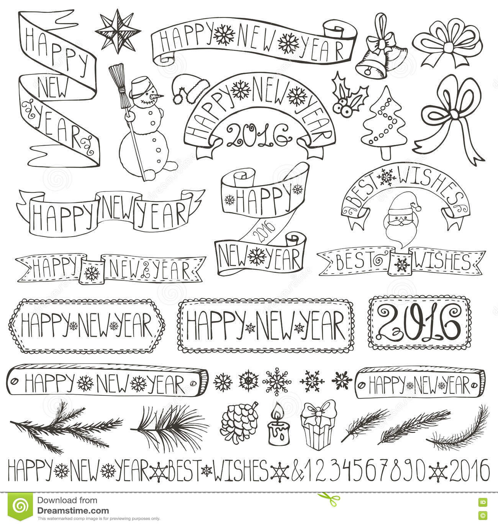 Labels de décoration de nouvelle année, rubans, marquant avec des lettres linéaire