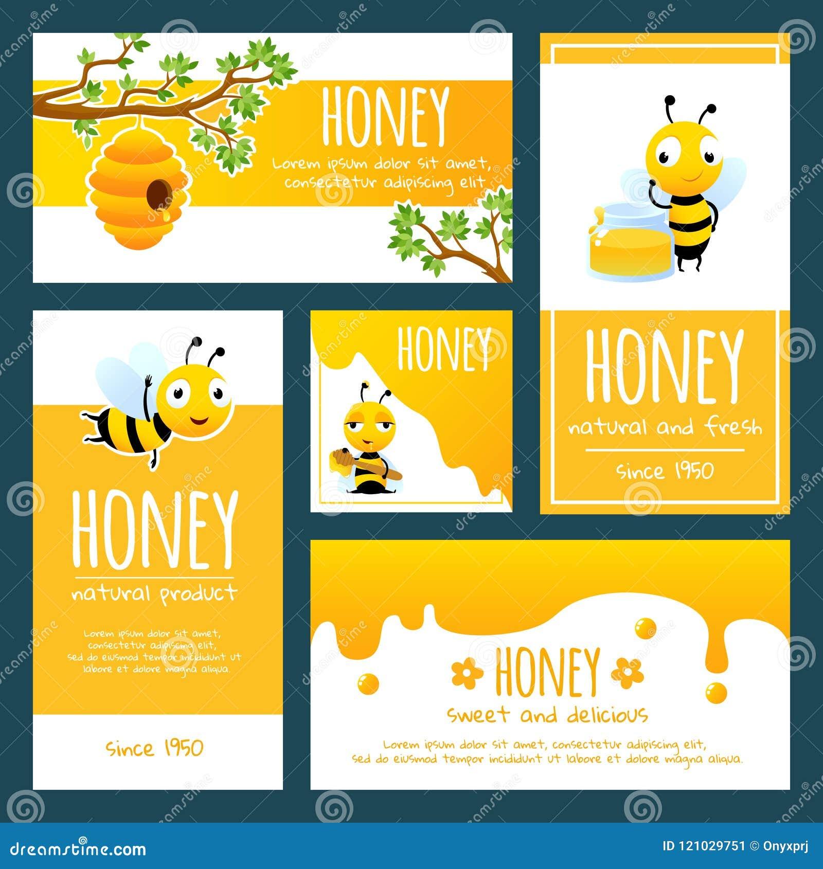 Labels de miel Bannières ou calibre de conception de cartes avec des illustrations des abeilles et du miel