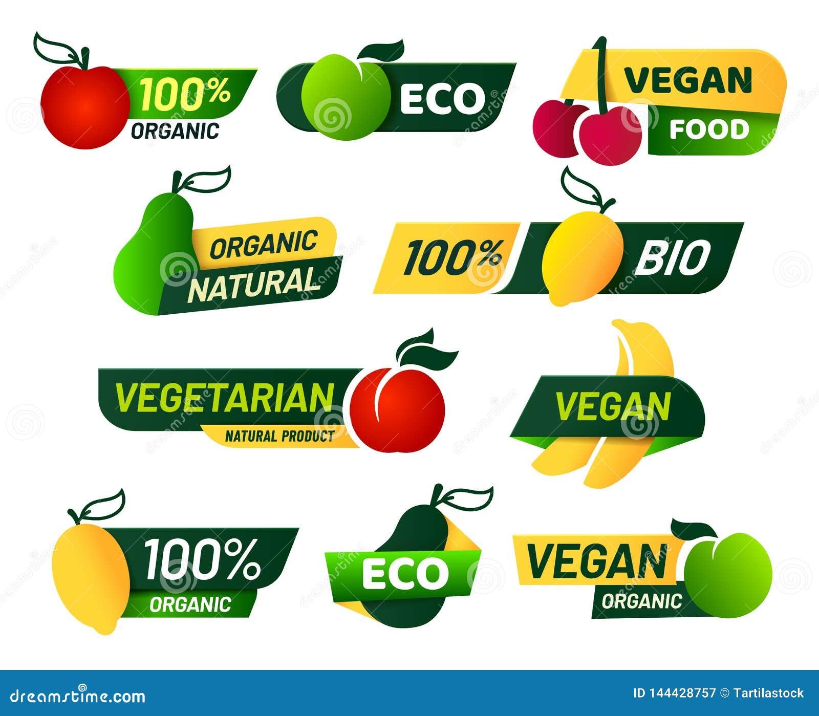 Labels de Vegan Nourriture verte d eco, produits biologiques frais sains et ensemble végétarien de vecteur de label d emblème