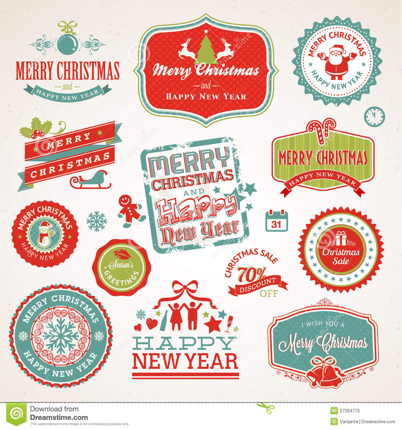 labels and elements for christmas and new year