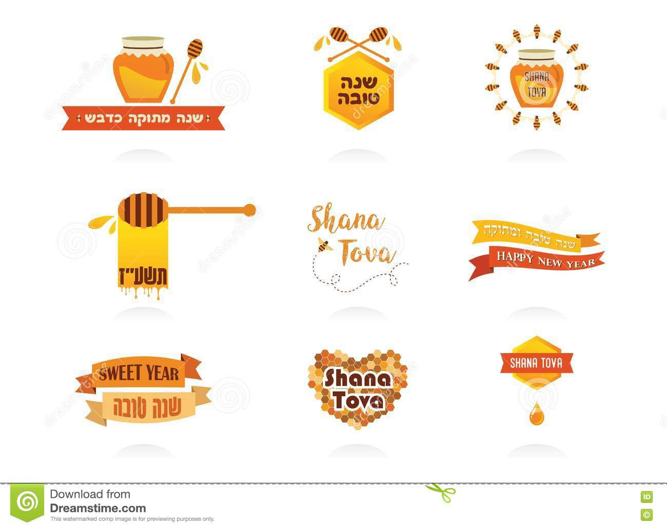 Labels For Jewish New Year Rosh Hashanah. Sweet And Happy ...
