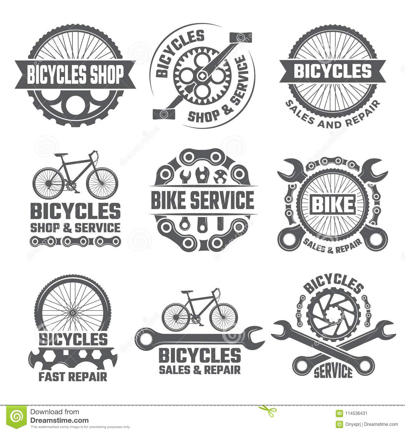Labels And Sport Logos Set With Parts Of Bicycle Stock Vector