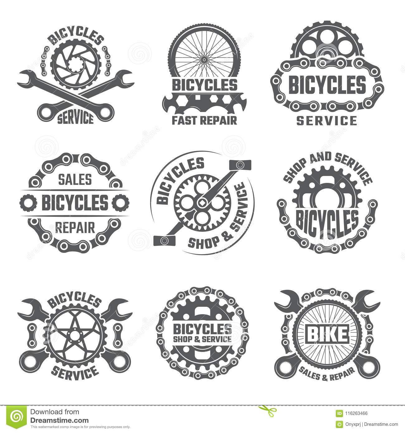 Labels Template Design With Gears, Chains And Other Parts Of Bicycle ...