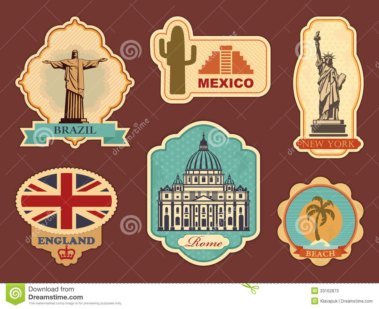 Labels of travel stock vector. Illustration of buildings ...