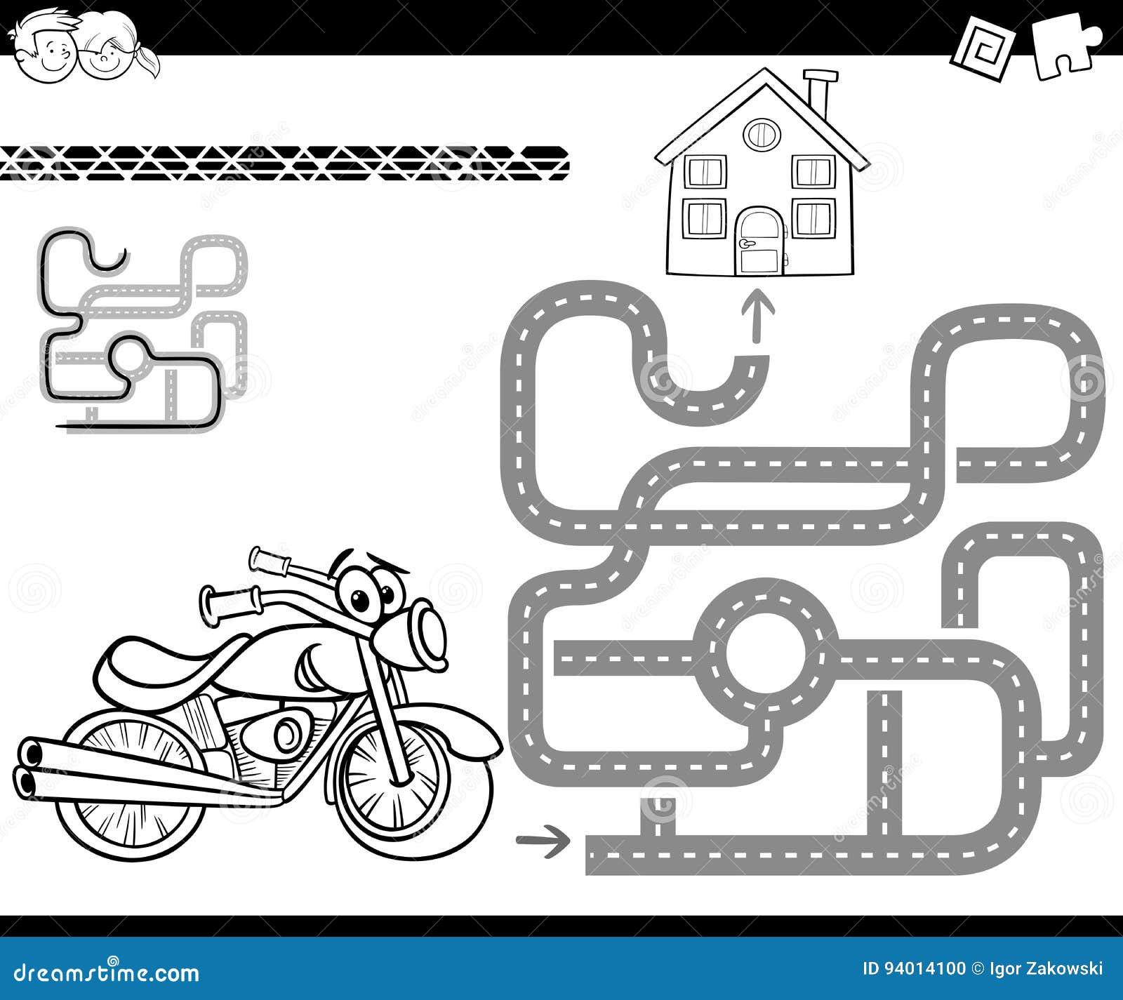 Laberinto Con La Bici Para Colorear Ilustración del Vector ...