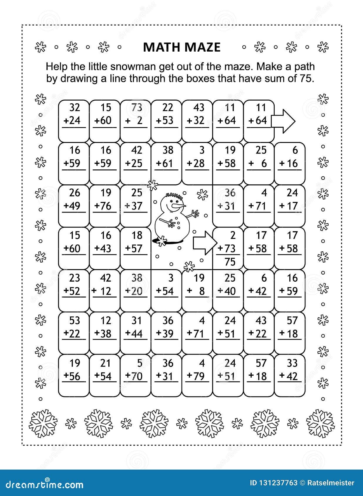 Laberinto de la matemáticas con los hechos de la adición para los números hasta 75