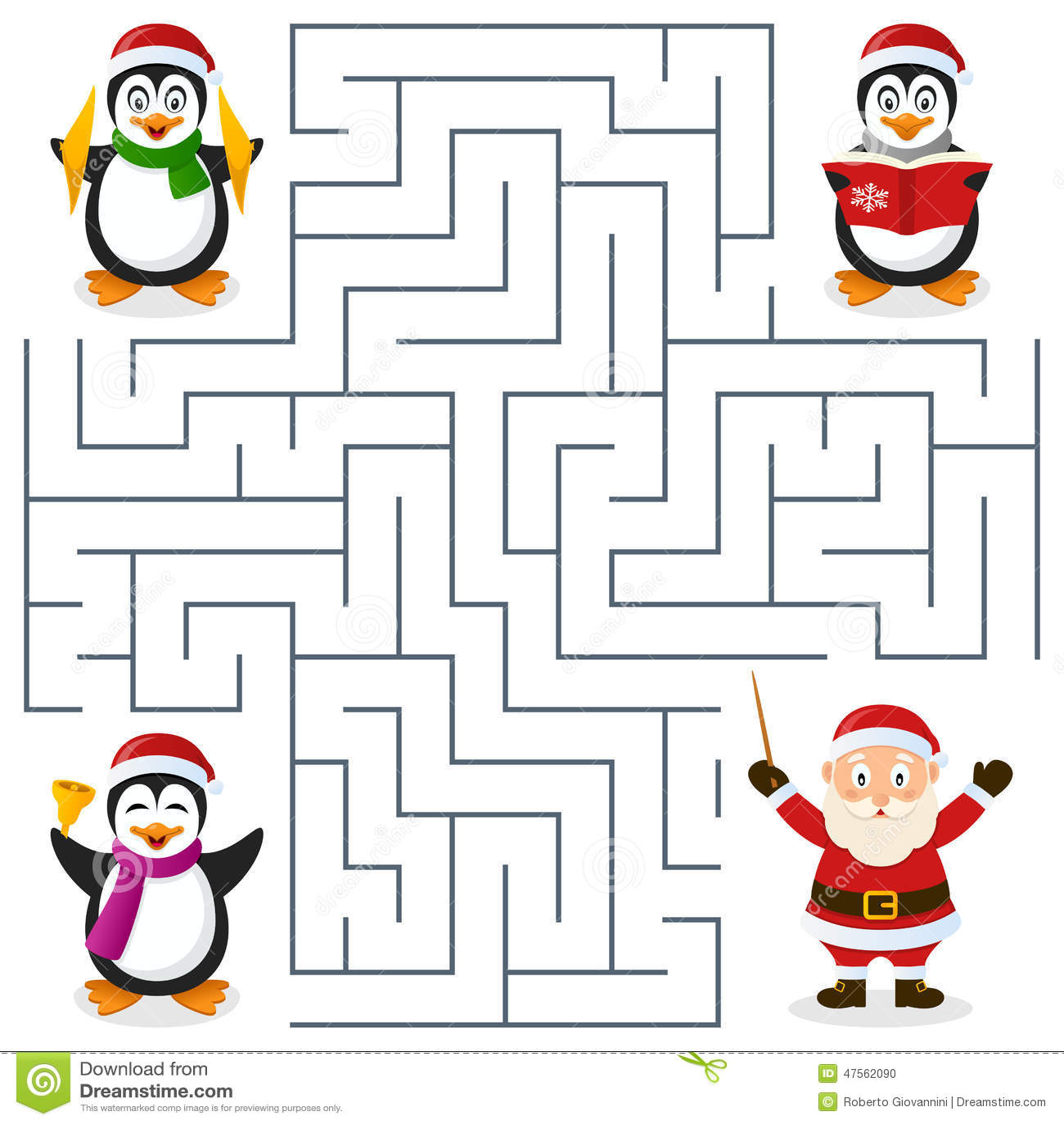 Laberinto De Los Pinguinos De La Navidad Para Los Ninos Ilustracion