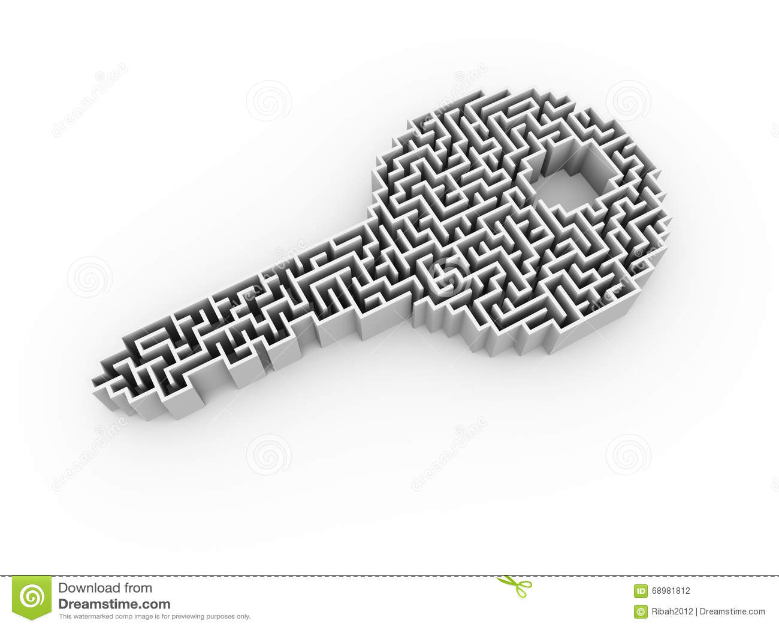 Laberinto del rompecabezas del laberinto de la forma de la llave 3d