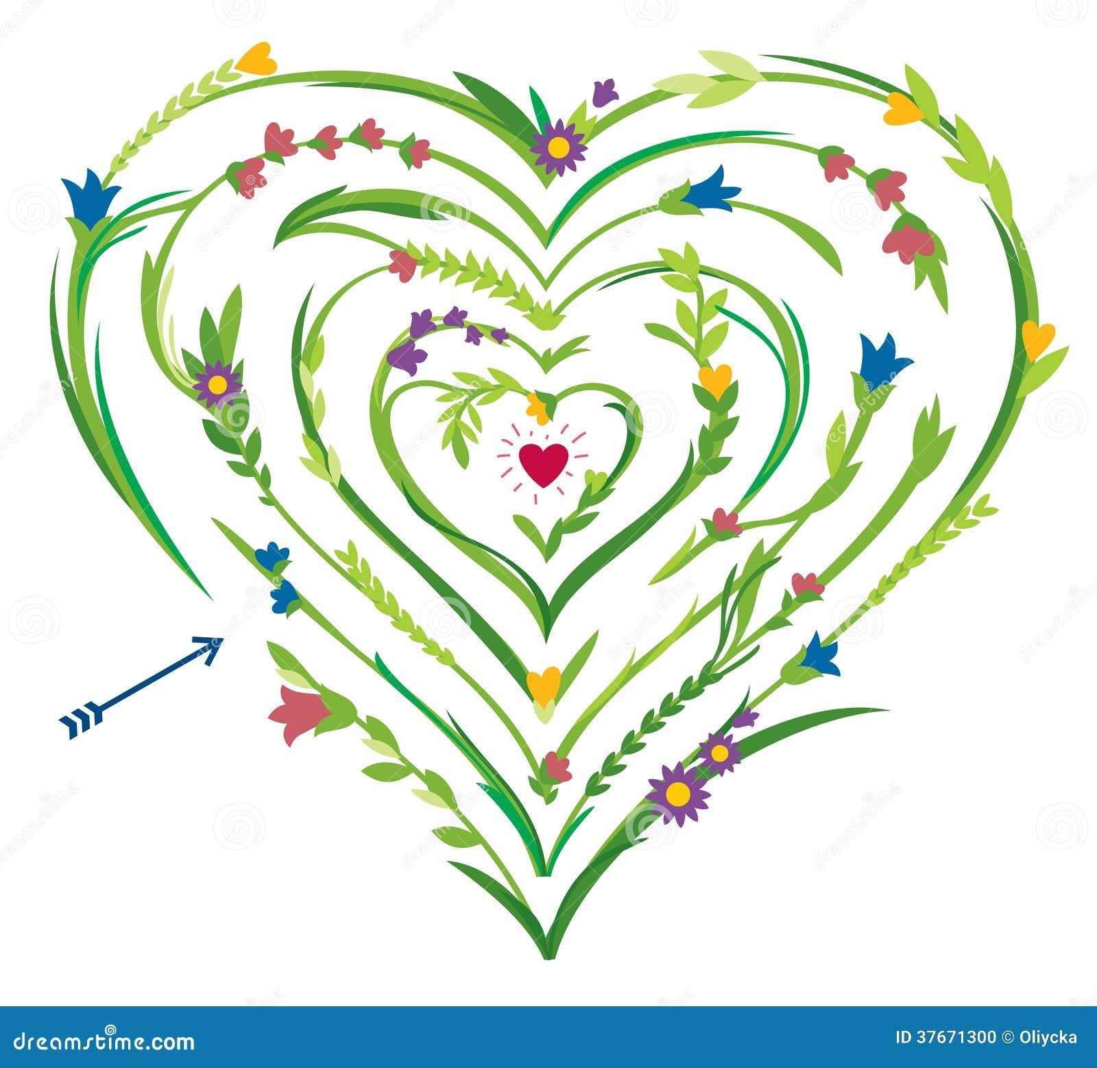 Laberinto en forma de corazón con los elementos florales