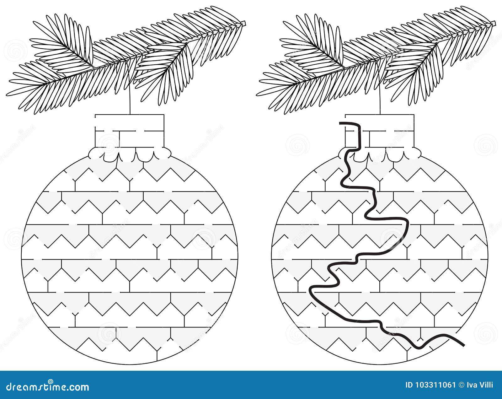 Laberinto fácil del ornamento de la Navidad
