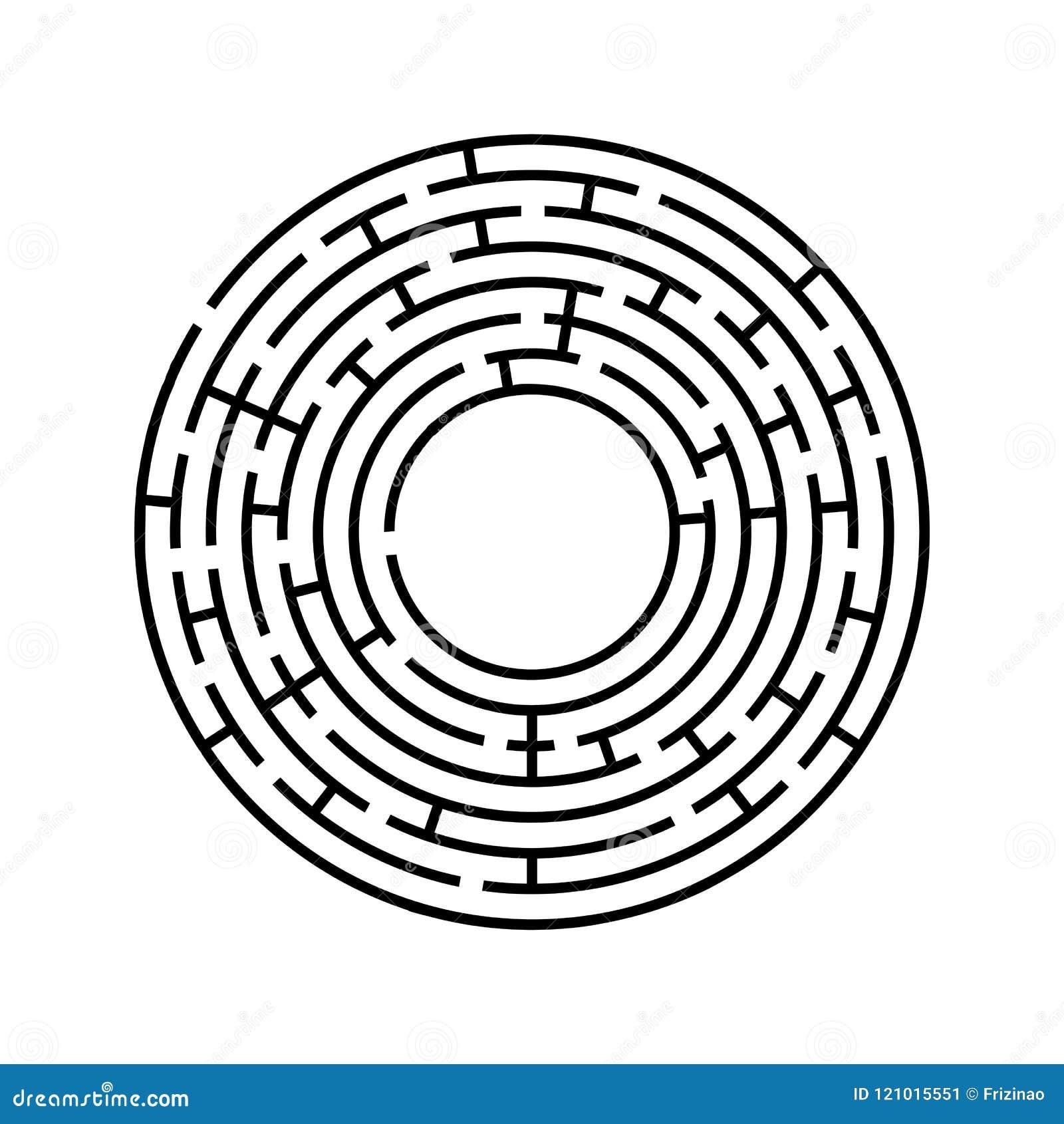 Laberinto redondo Un juego interesante y útil para los niños y los adultos Ejemplo plano simple del vector aislado en el backgro