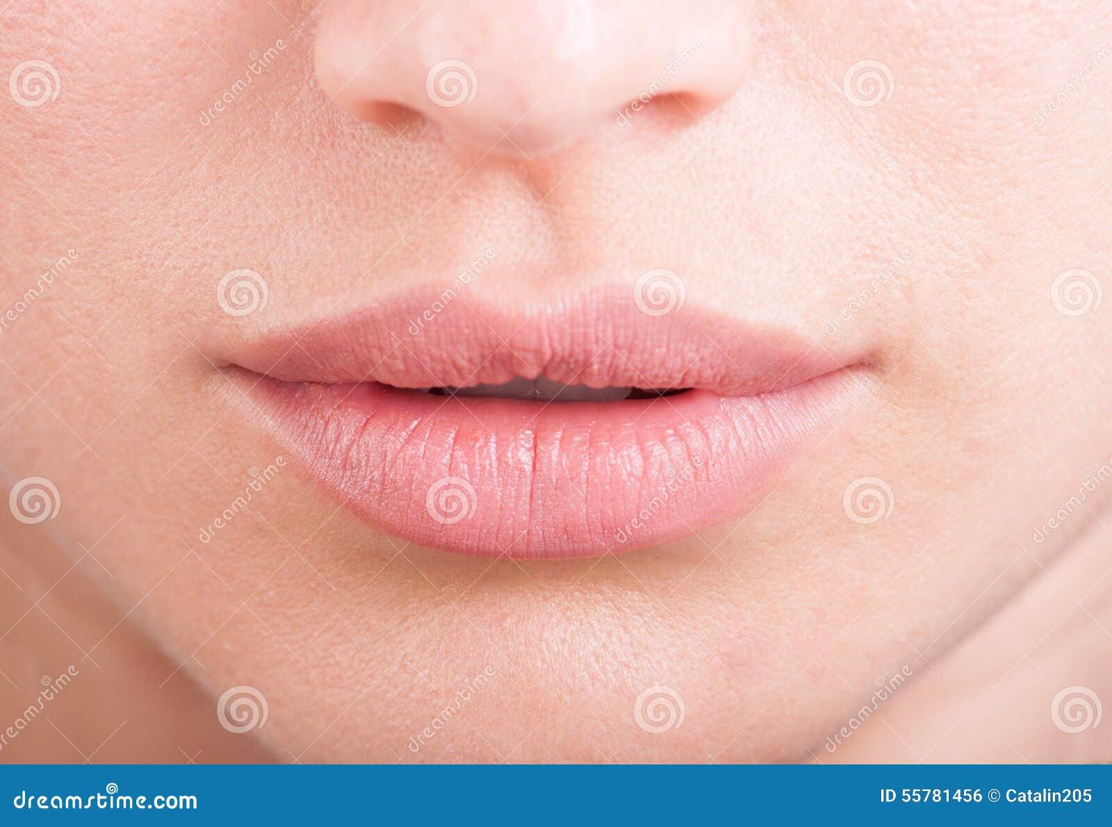 Labios de la hembra del ácido o del botox de Hylauronic