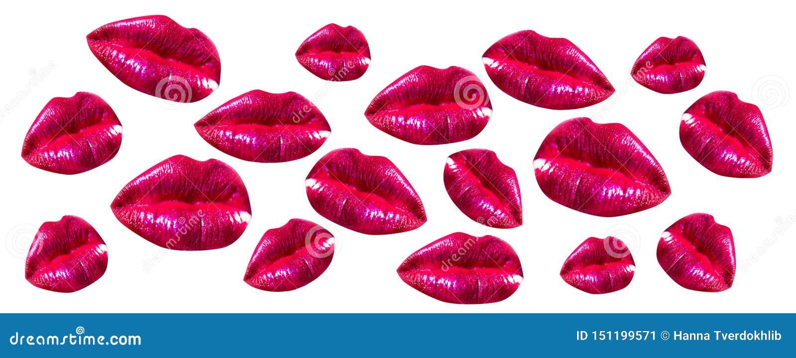 Labios de la mujer fijados Cierre de la boca de la muchacha para arriba con maquillaje rojo de la barra de labios Boca con los co