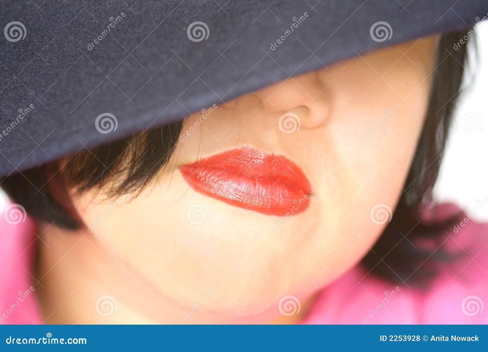 Labios rojos asiáticos