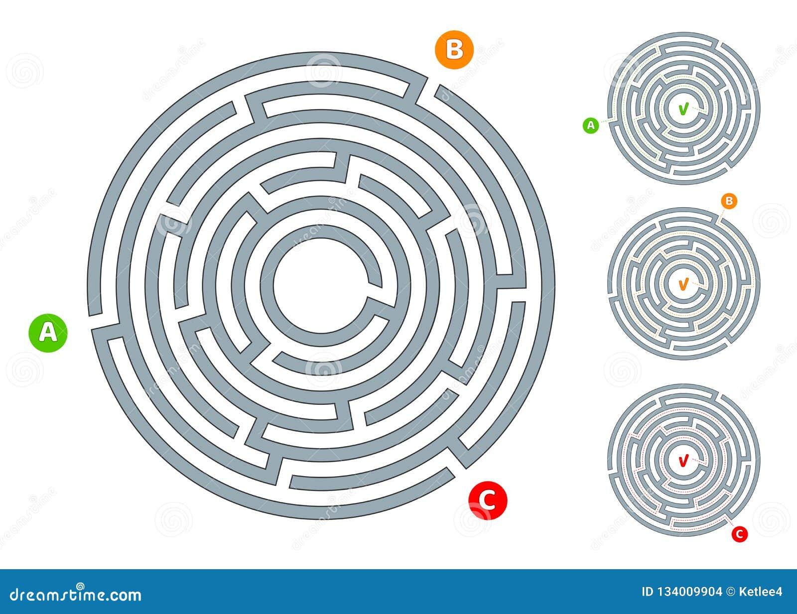 Labirinto circular abstrato do labirinto com uma entrada e uma ilustração lisa da saída A em um fundo branco um enigma para o pen
