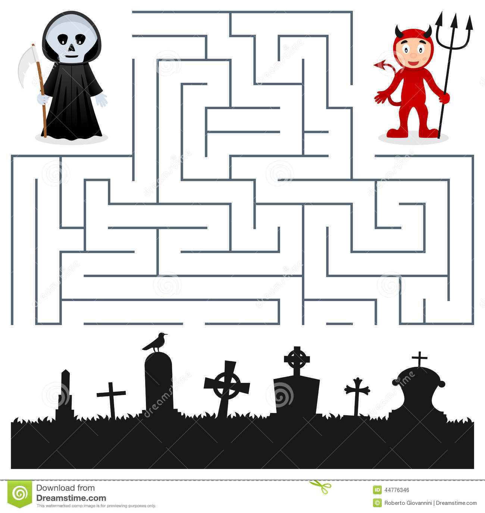 Labirinto de Dia das Bruxas - Ceifador & diabo