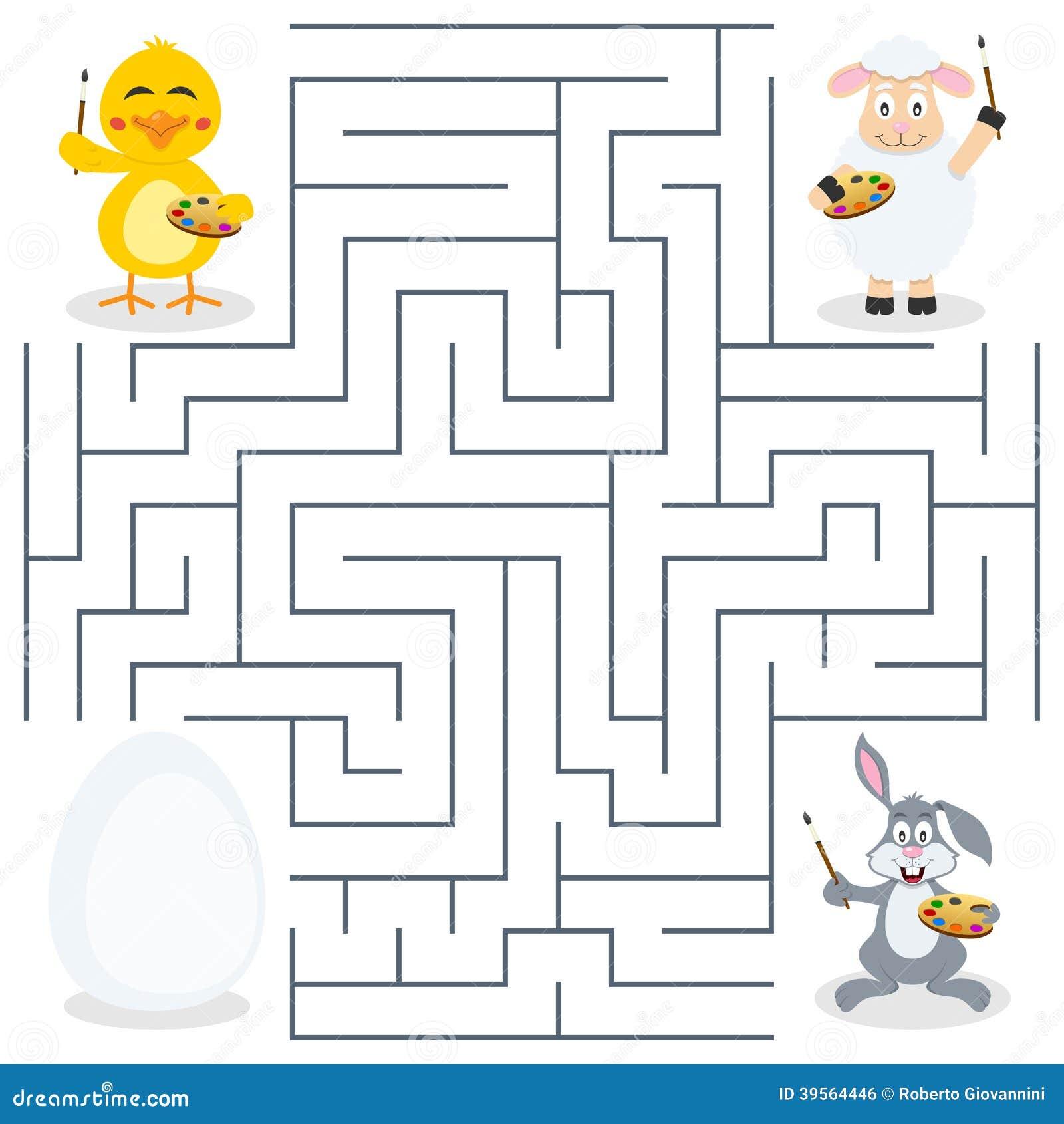 Labirinto dell uovo di Pasqua & dei pittori per i bambini