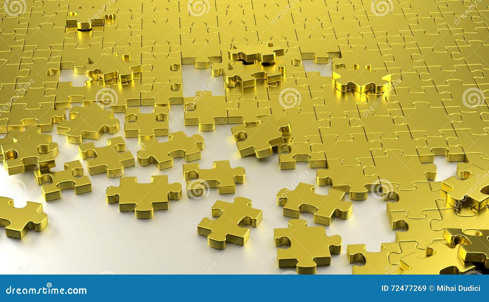Labirinto dorato di puzzle insieme