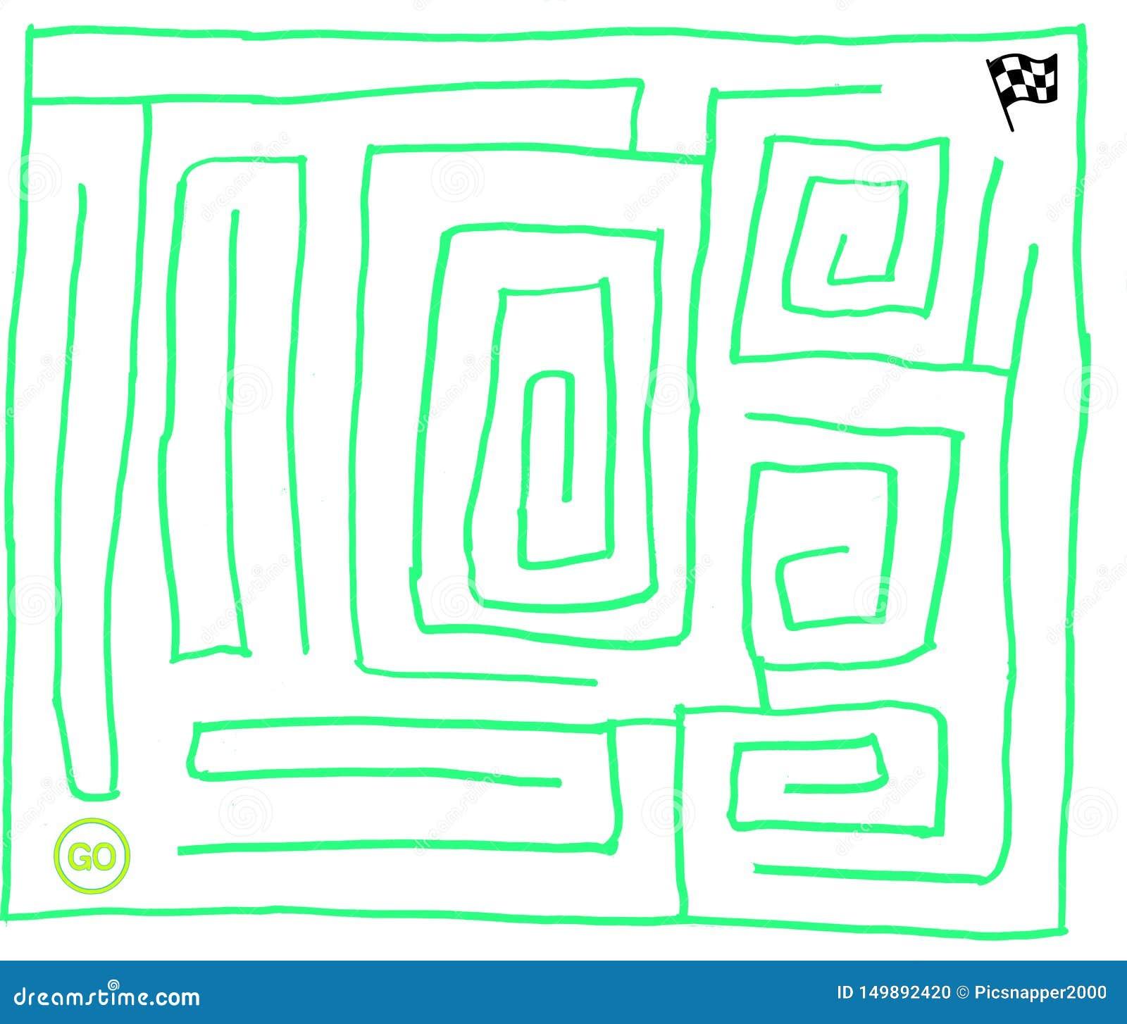 Labirinto numero sette, verde molto facile e fluorescente, grafico di vettore