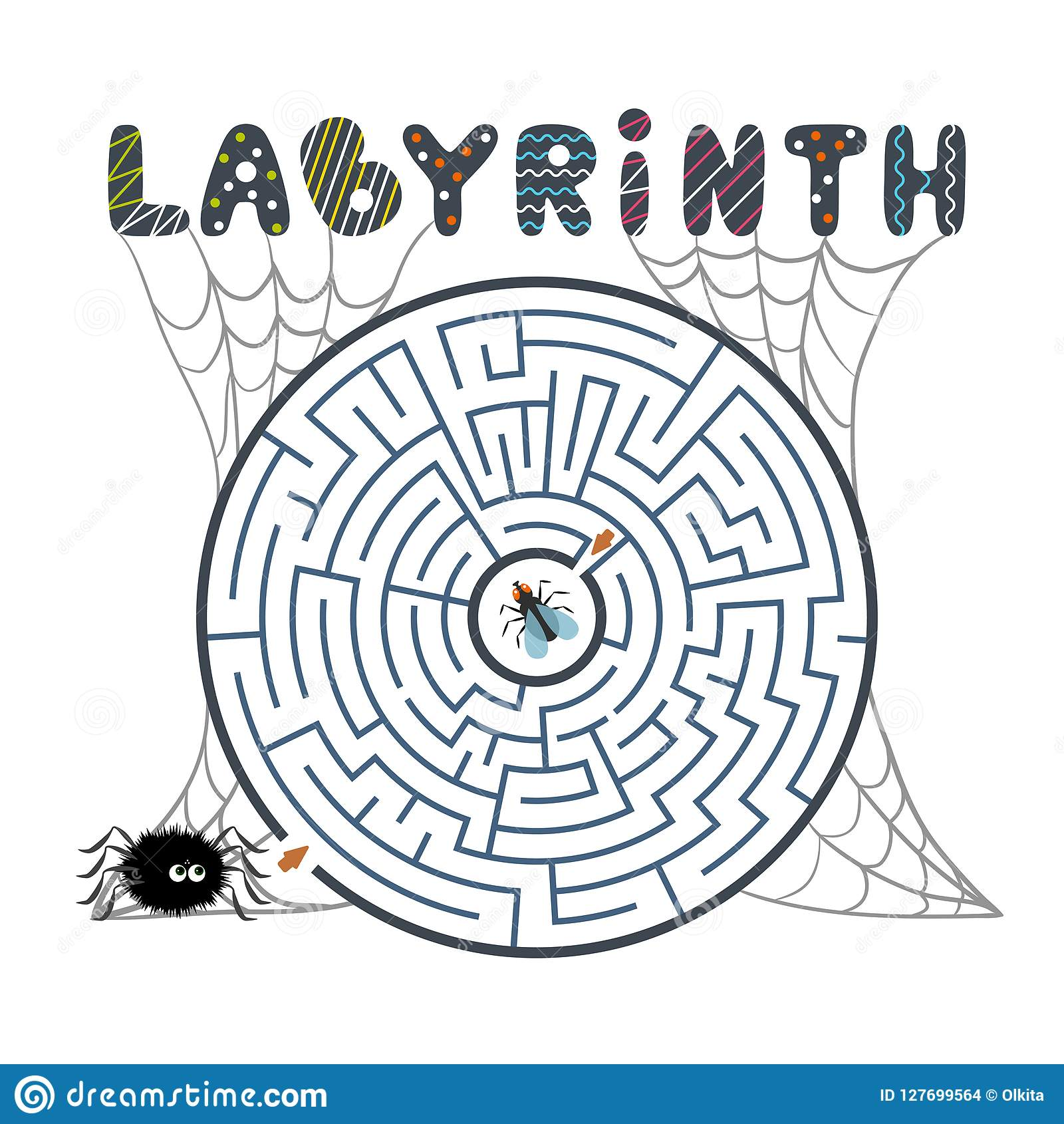 Labirinto preto redondo com aranha, mosca e Web no fundo branco Labirinto das crianças s Jogo para miúdos Enigma das crianças s p