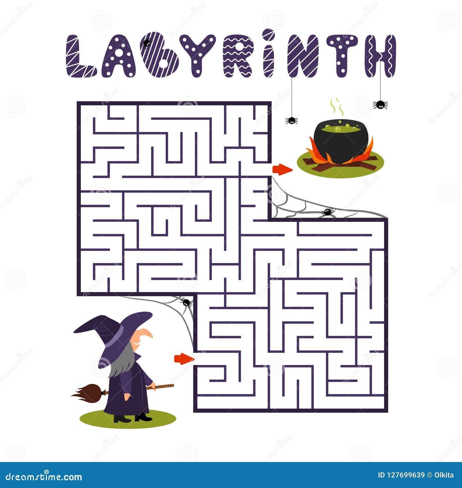 Labirinto quadrado com bruxa e caldeirão no fundo branco Labirinto das crianças Jogo para miúdos Enigma das crianças para o Dia d