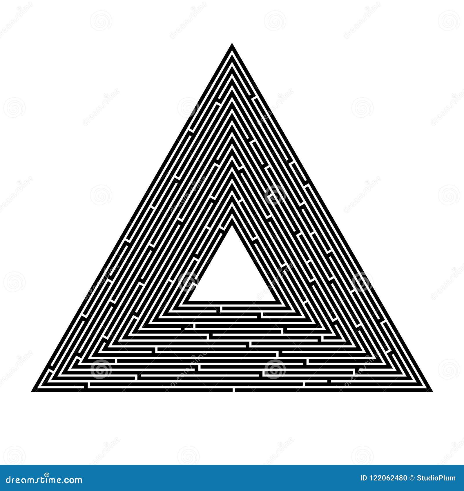Labirinto triangular em um fundo branco, pirâmide, busca para uma saída, solução