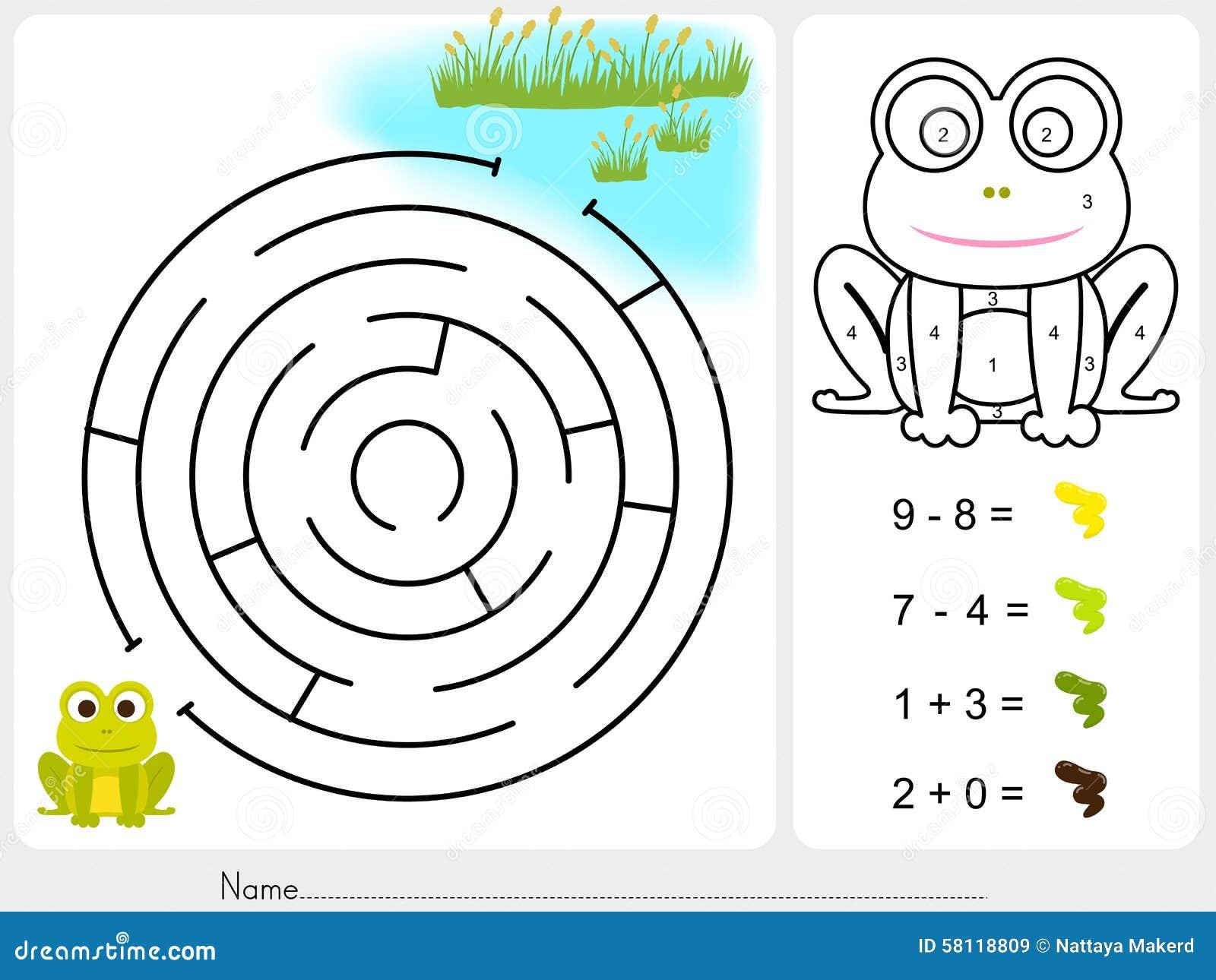 Labirynt gra, farba kolor liczbami - Worksheet dla edukaci