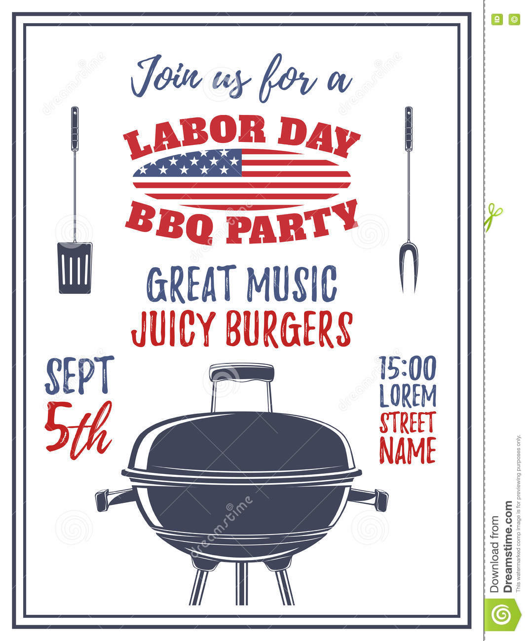 Labor Day Barbecue Party Background. Stock Photo