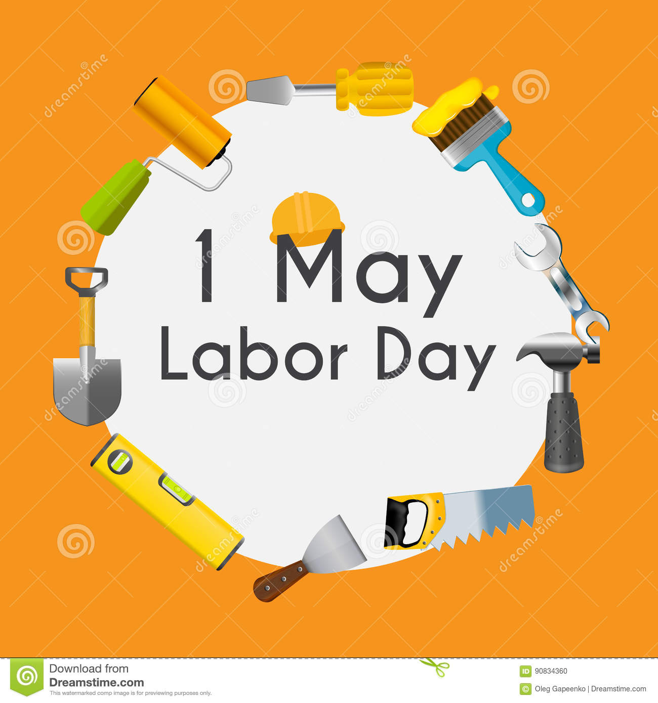 Labor Day 1 May Poster Vector Illustration Stock Vector