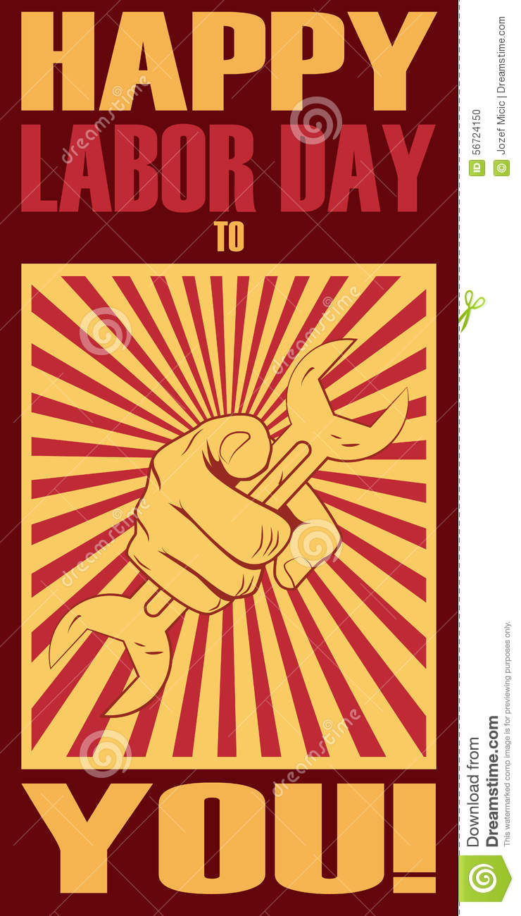 Labor Day Poster. Hand Holding Wrench. Vintage Stock Vector ...