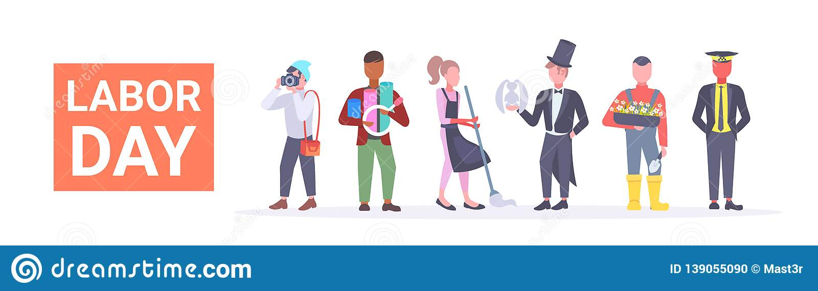 Labor day poster people of different professional occupation holiday celebration concept standing together isolated flat