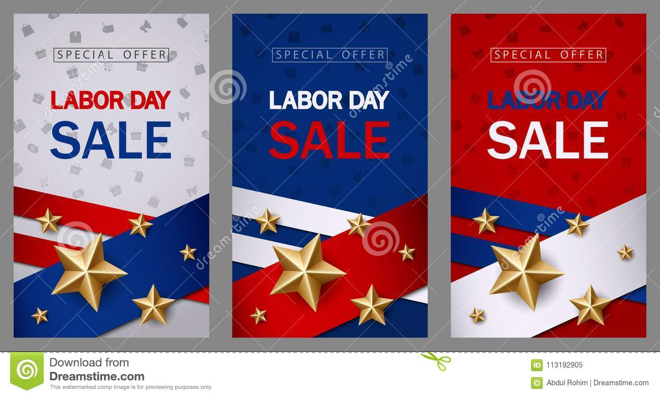 labor day sale banner template with american flag and golden star