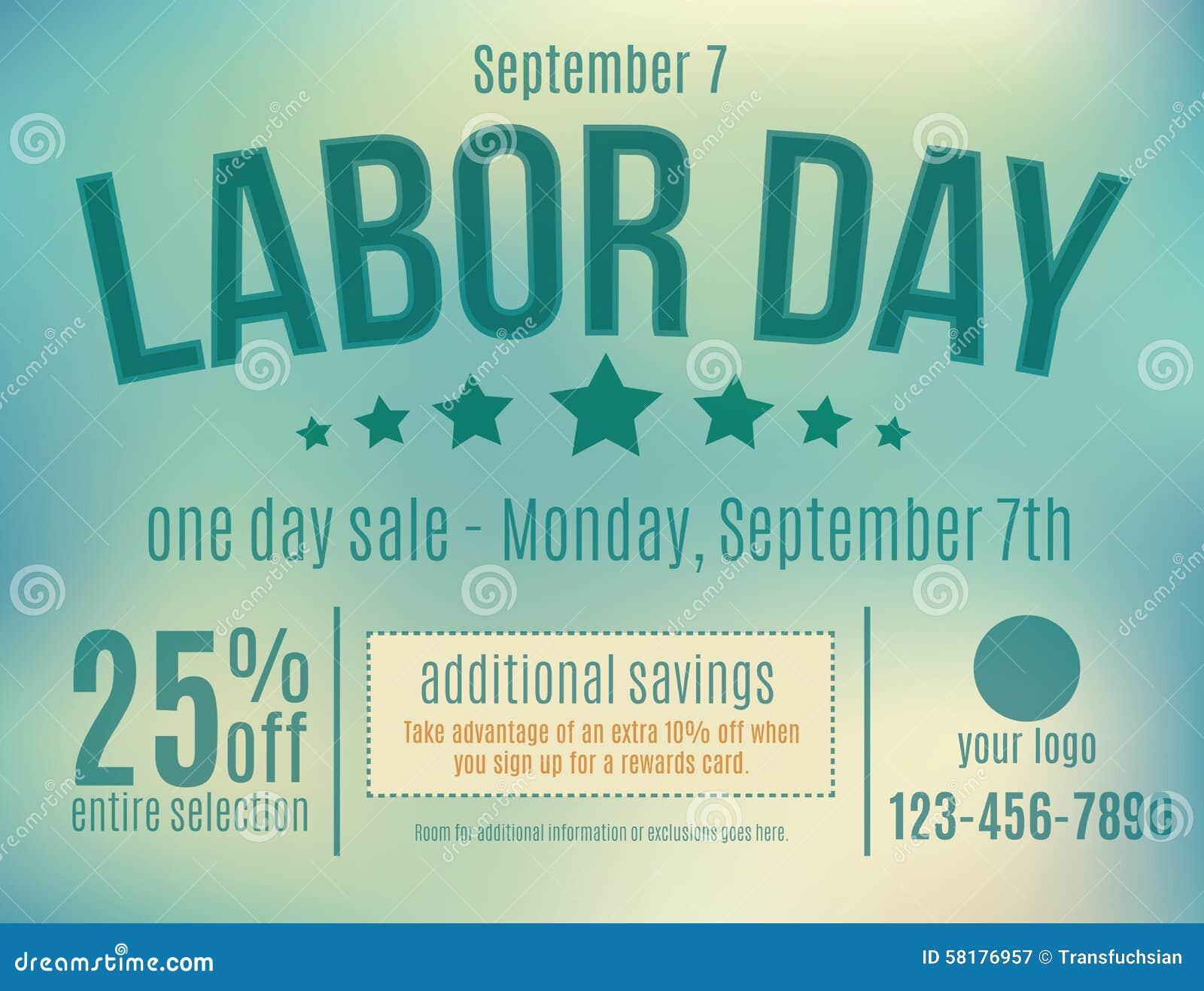 Labor Day Sale Postcard Stock Vector - Image: 58176957