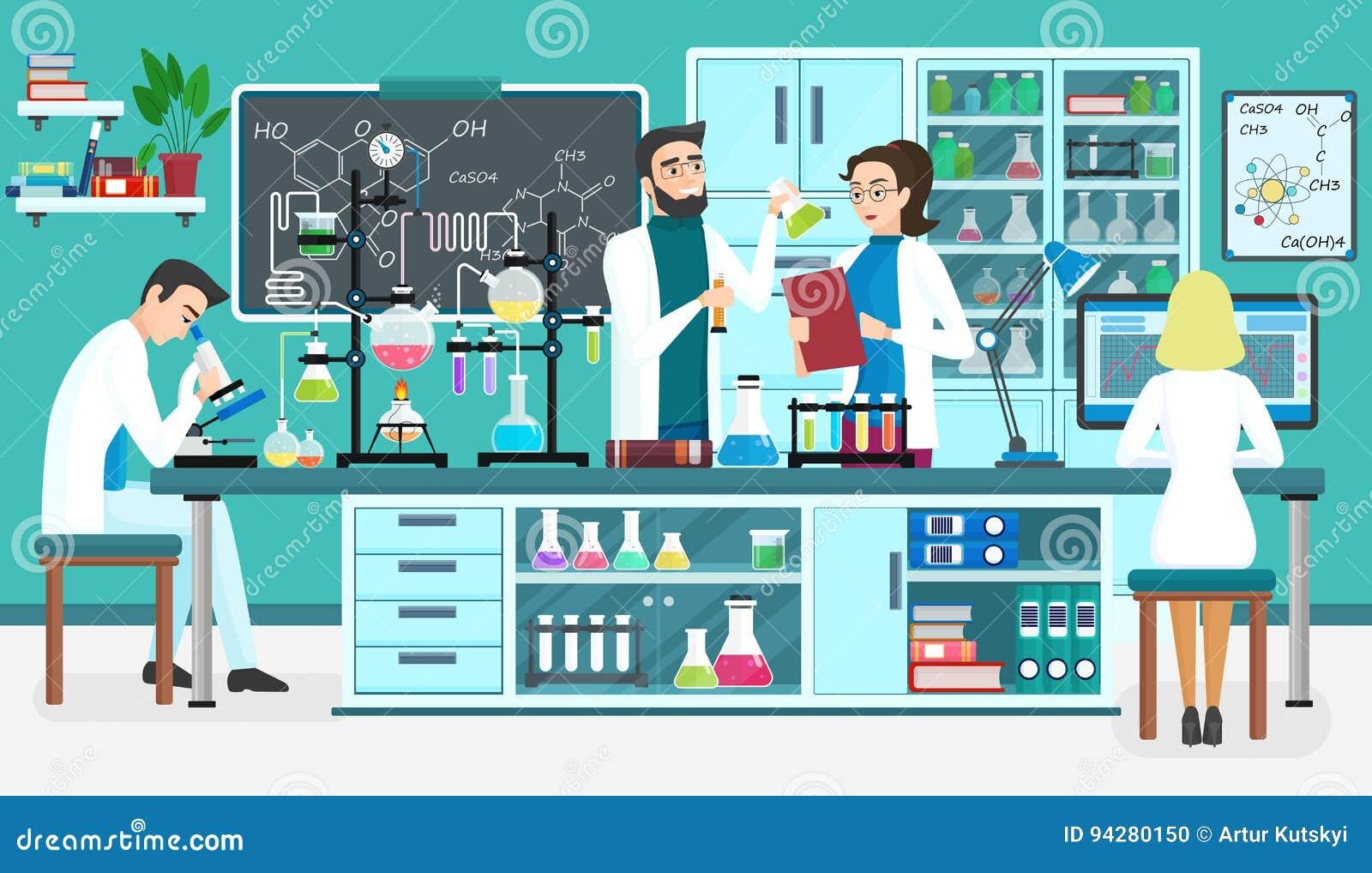Laboranccy ludzie asystentów pracuje w naukowym medycznym biologicznym lab chemiczni eksperymenty Kreskówka wektor