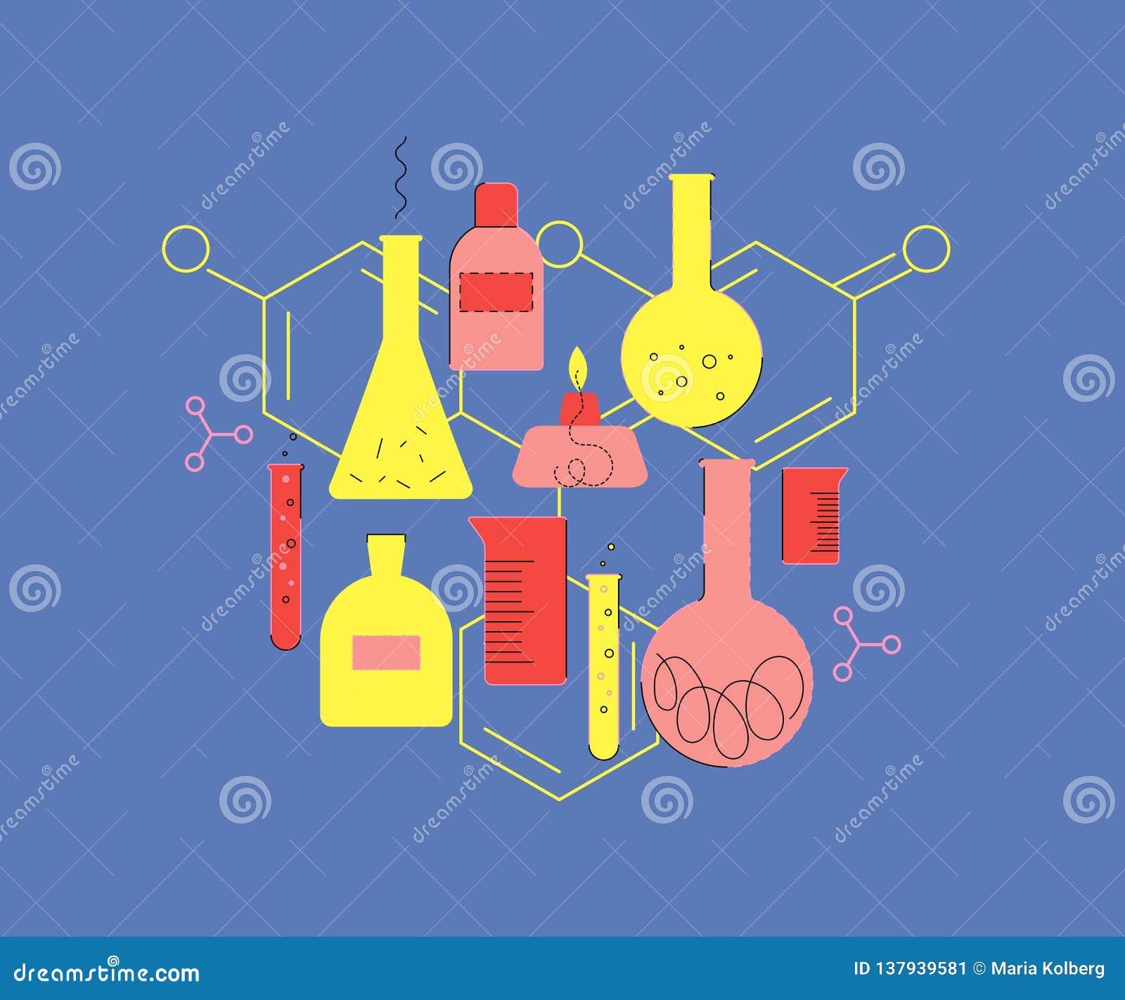 Laborancki Glassware Set chemiczny glassware wzór chemiczny