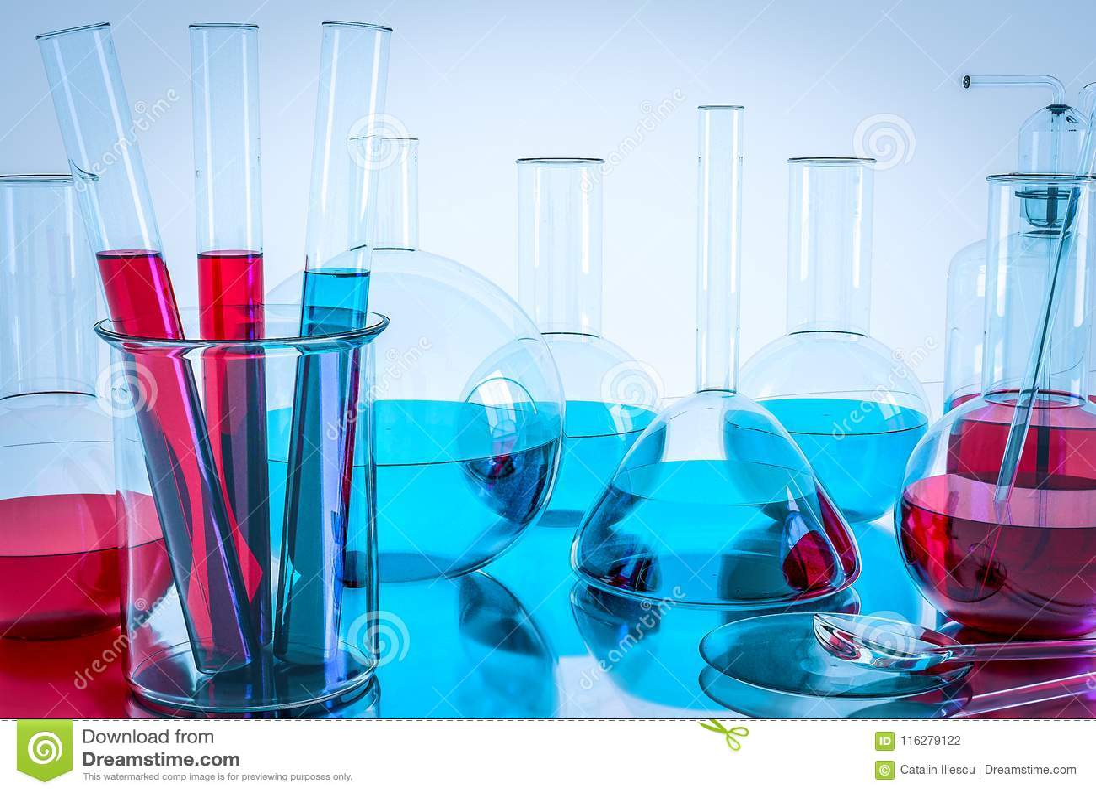 Laboranckiego wyposażenia i nauki eksperymenty, Laborancki glassware zawiera chemicznego ciecz, nauki badanie, nauka