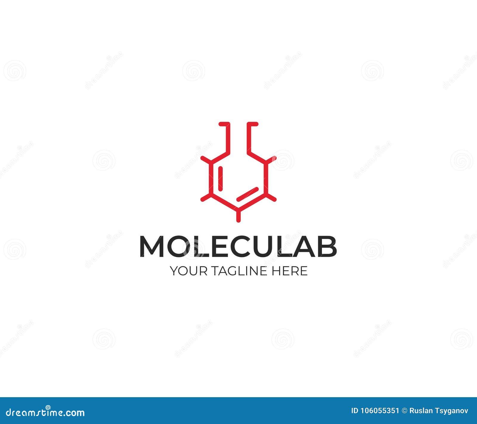 Laboratório molecular Logo Template Estrutura molecular esqueletal