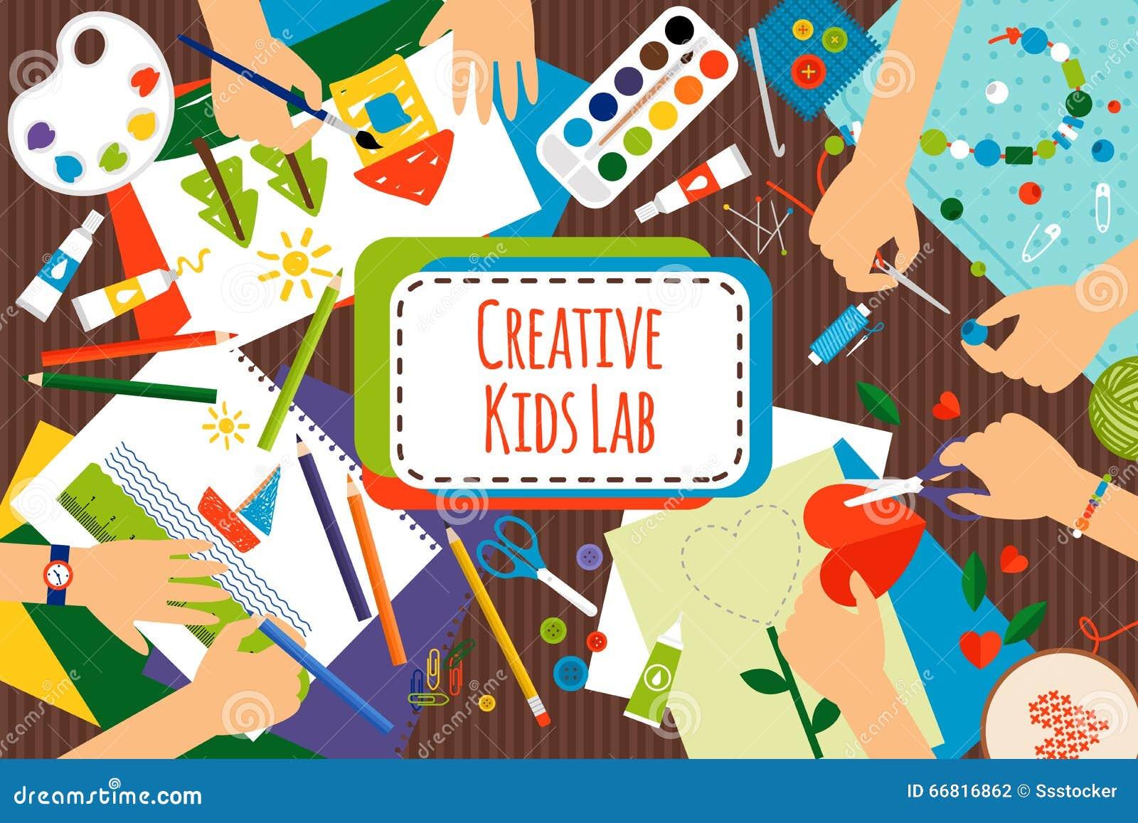 Molto Laboratorio Creativo Dei Bambini Illustrazione Vettoriale  UA01