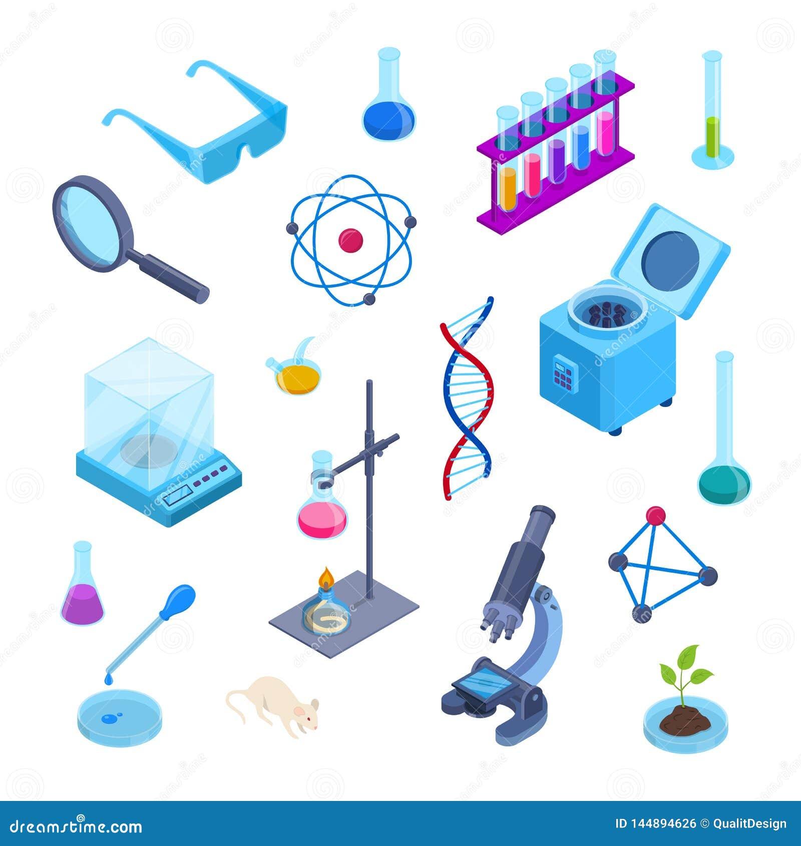 Laboratorio di scienza, simboli isometrici di vettore 3d di ricerca in chimica Insieme piano isolato delle icone Raccolta dell at