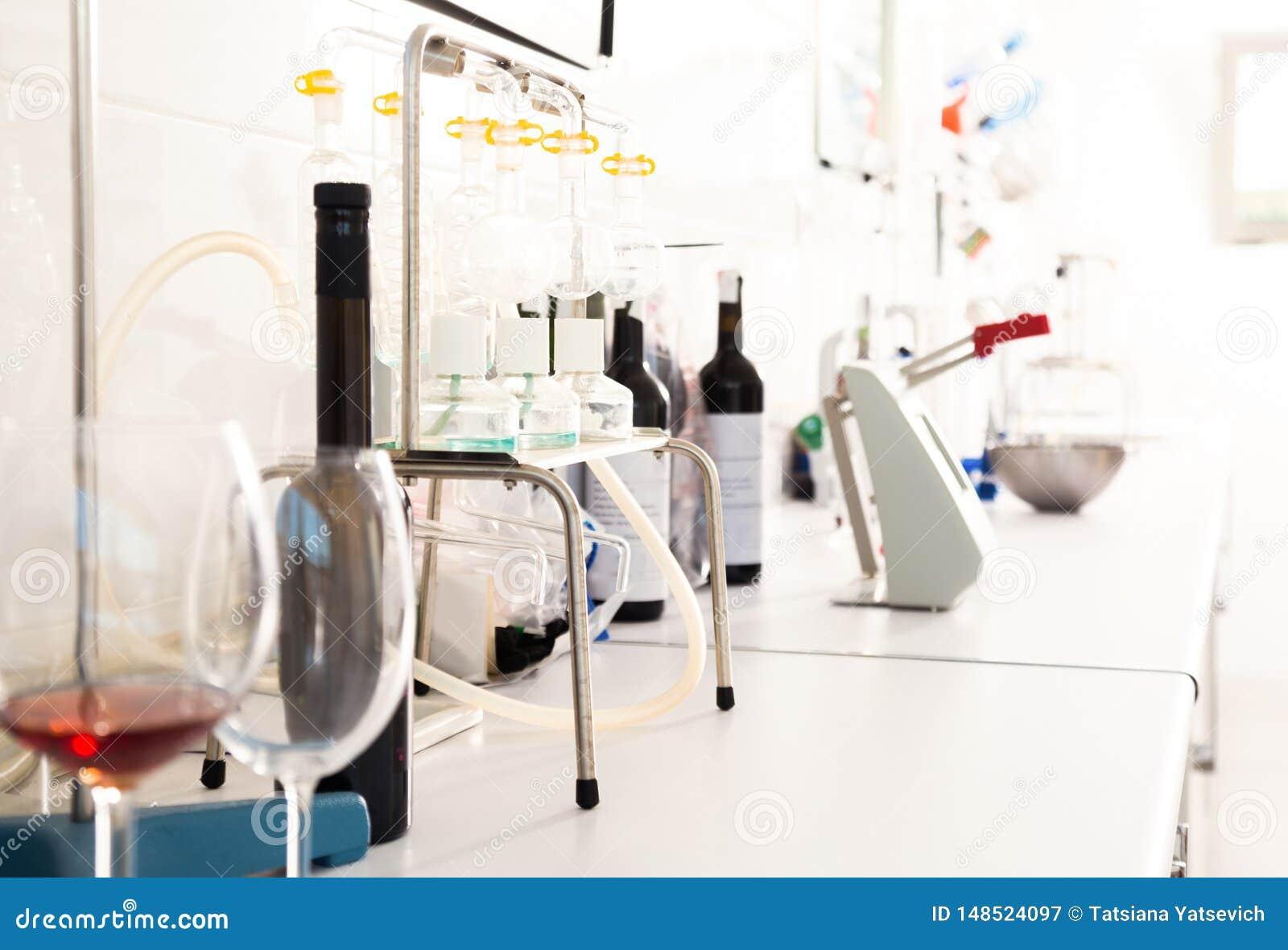 Laboratorio moderno del lagar Comprobaci?n de la acidez del vino y de las caracter?sticas organol?pticas